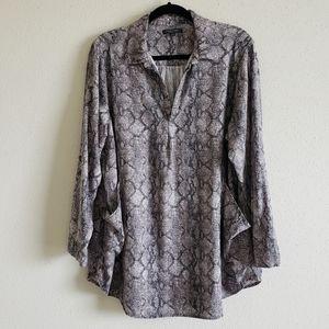 Animal print woven tunic top plus size